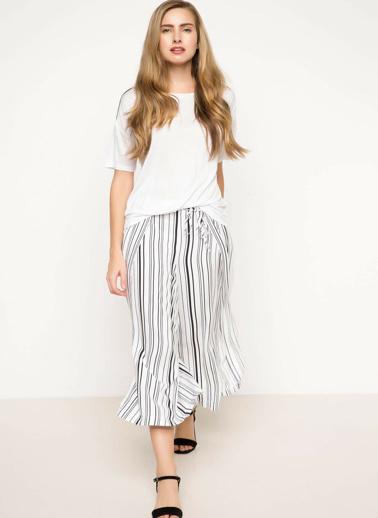 DeFacto Çizgili Geniş Kesim Pantolon Beyaz